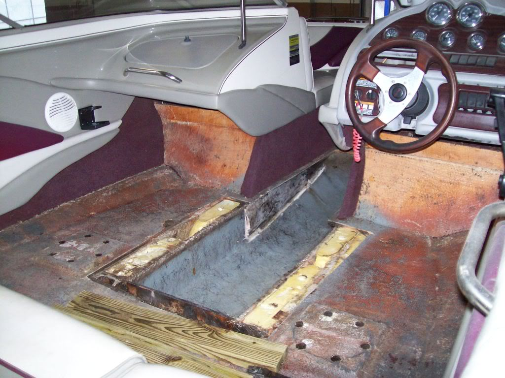 Watch me replace a section of floor on my 1998 1900 sr2 for Replacing boat floor