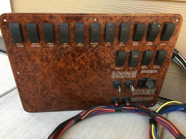 Burl ignition panel with harness